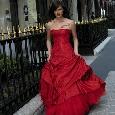 Wijde rode glamourjurk