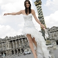 Hippe witte bruidsjurk met lange rok