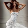 Lange strapless trouwjurk van kreukstof