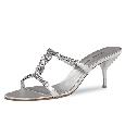 Zilver open schoentje met strass