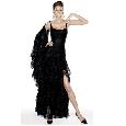 Zwarte glamourjurk met split