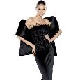 Zwarte strapless jurk met stola