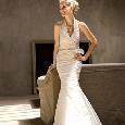 Lange witte trouwjurk